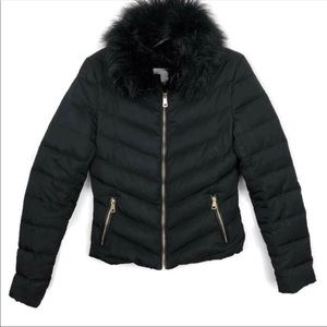 •H&M• Black Puffer Jacket w/Black Faux Fur Collar